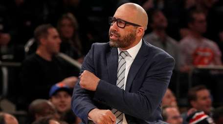 David Fizdale of the Knicks reacts during the