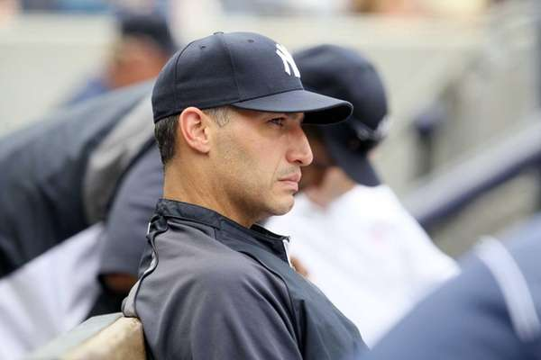 Andy Pettitte looks on against the Los Angeles