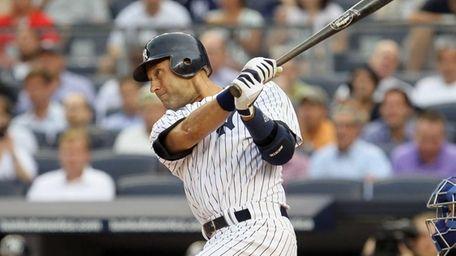 Derek Jeter of the New York Yankees follows