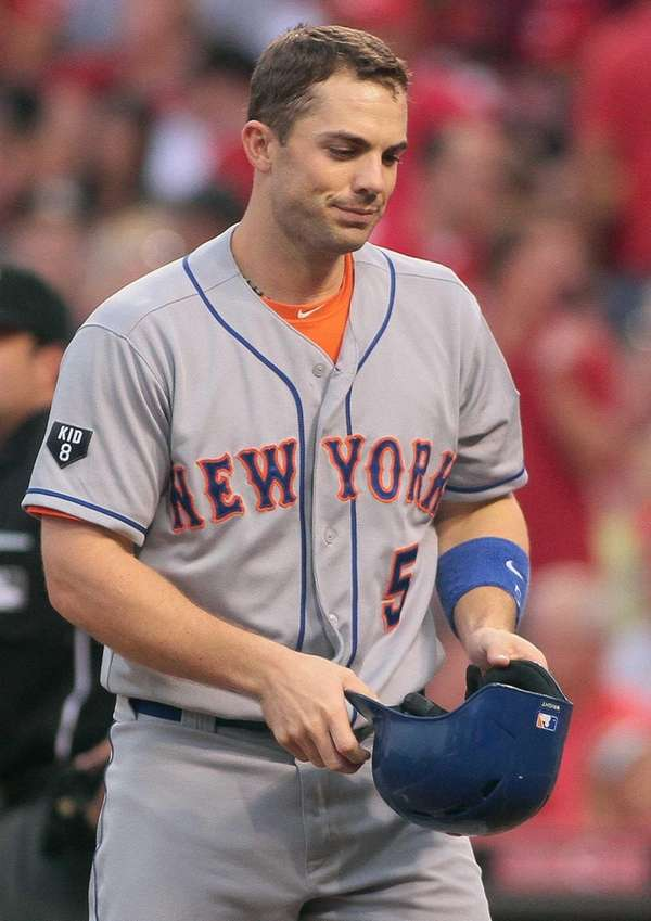 David Wright reacts after striking out against Cincinnati