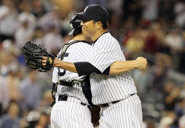 Hiroki Kuroda celebrates his shutout against the Texas