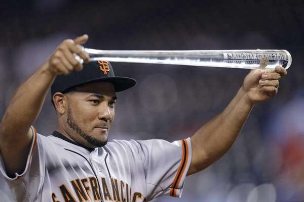 Melky Cabrera, of the San Francisco Giants, shows