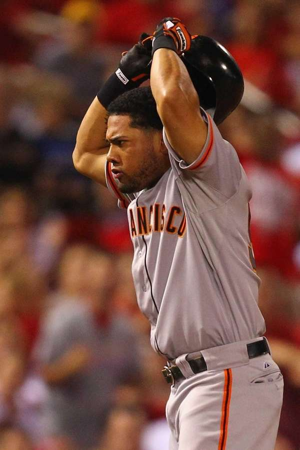 Melky Cabrera of the San Francisco Giants reacts