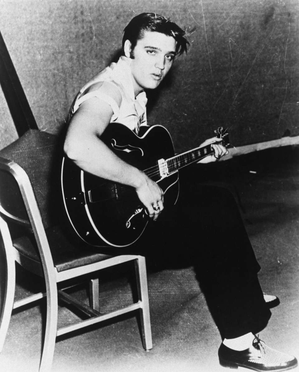 Elvis Presley between takes at his first RCA