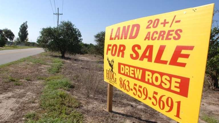 A for sale sign sits among an acreage