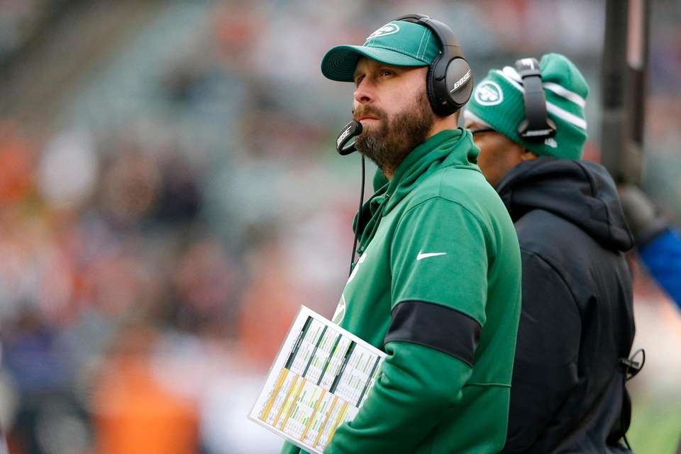Jets head coach Adam Gase works the sideline