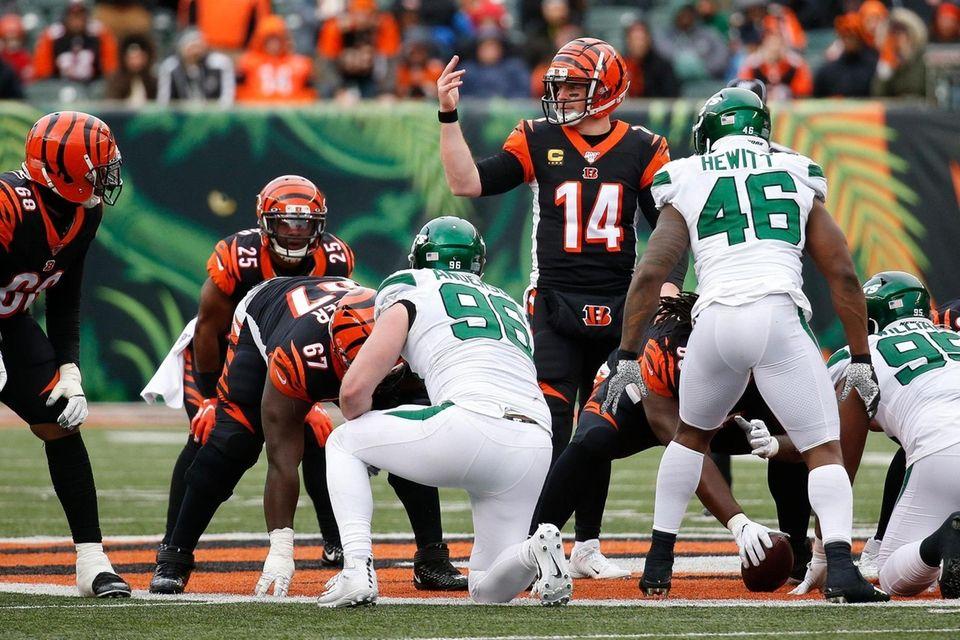 Cincinnati Bengals quarterback Andy Dalton directs his players