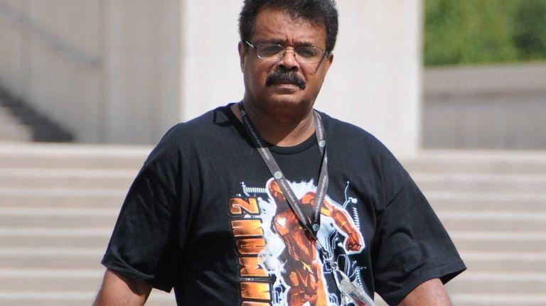 Rufino Sanchez, an air controller labor leader, leaves