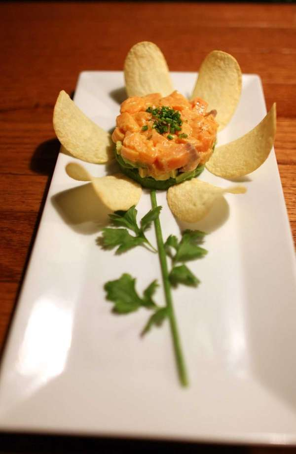 Salmon tartare is among the small plates served