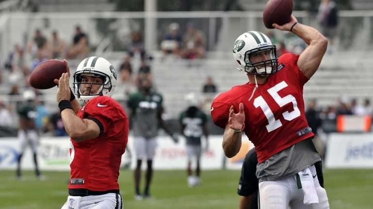 Mark Sanchez throws during practice in Cortland, N.Y.