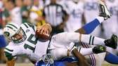Tim Tebow gets sacked by Giants defensive end