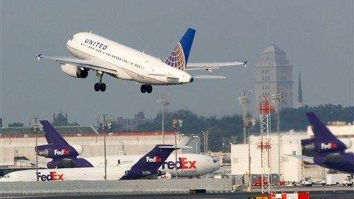 A United Continental passenger plane takes off at