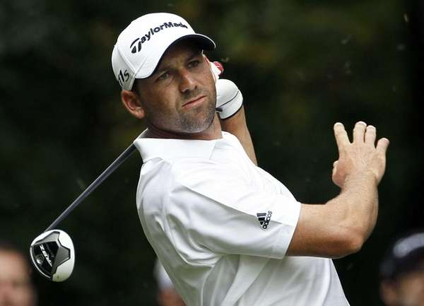 Sergio Garcia, of Spain, watches his tee shot
