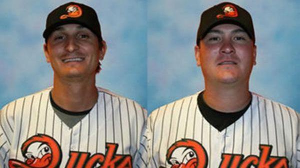 Ducks pitchers Jared Lansford, left, and Josh Lansford,