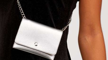Bag it: A sparkly chain and silvery pouch