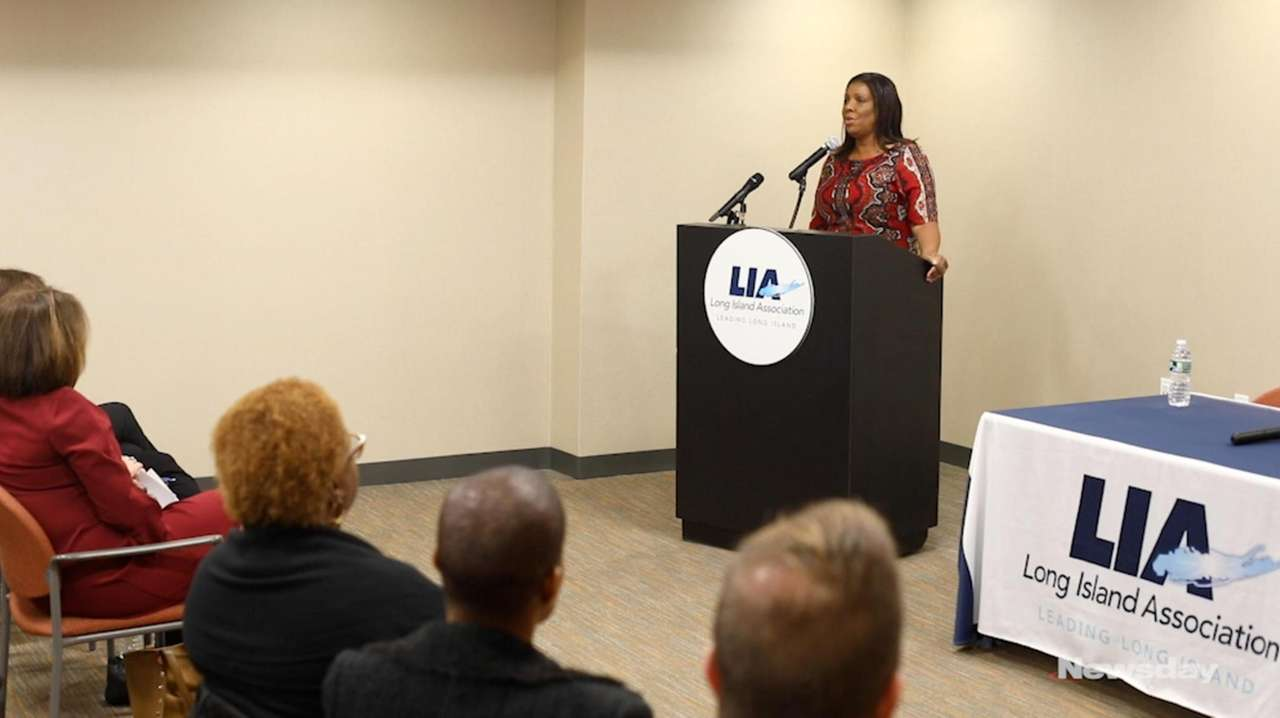 State Attorney General Letitia James spoke Monday at