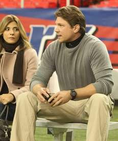 On the set of ?Necessary Roughness? Callie Thorne,