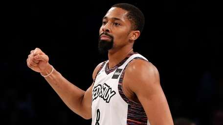 Spencer Dinwiddie of the Nets reacts after a