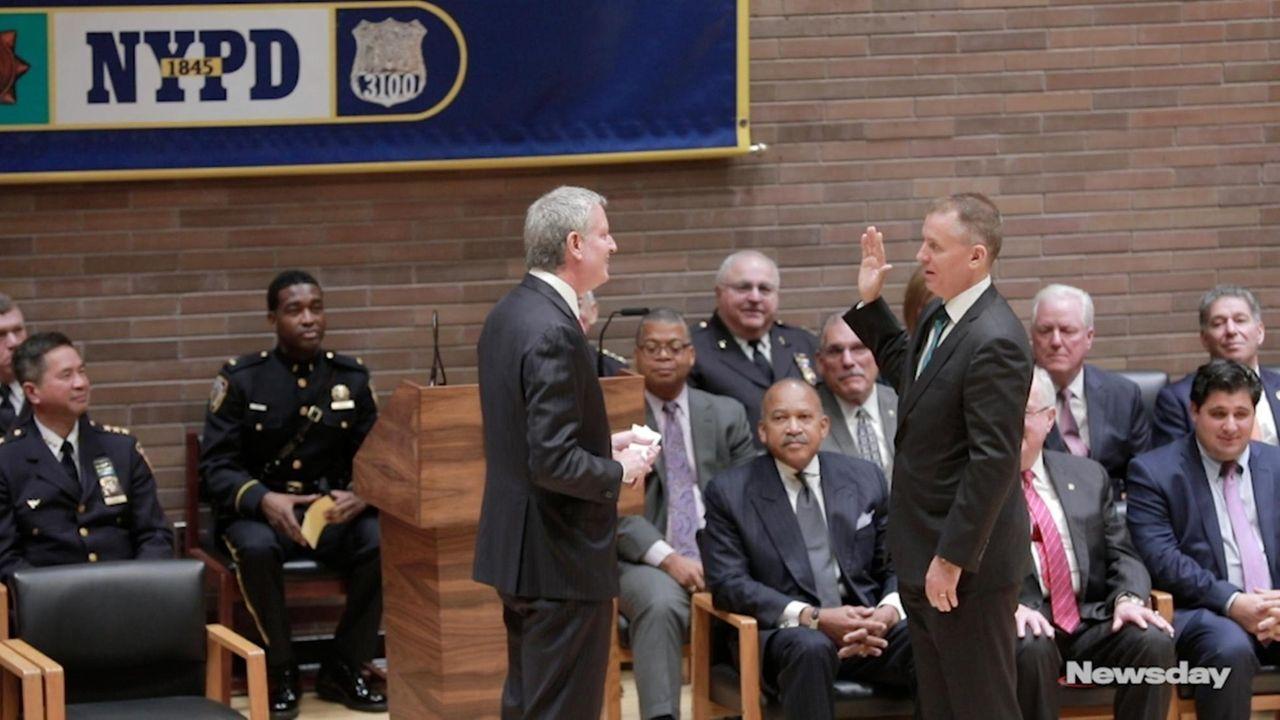 New York City Mayor Bill de Blasio swore