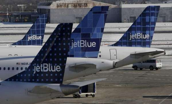JetBlue aircraft on the ground at Kennedy Airport.