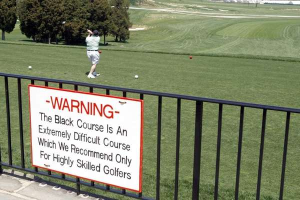 BETHPAGE- APRIL 28, 2009: A sign at the
