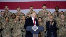 President Donald Trump, center, with Afghan President Ashraf