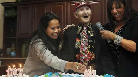 Gene Scala celebrates his 107th birthday party at