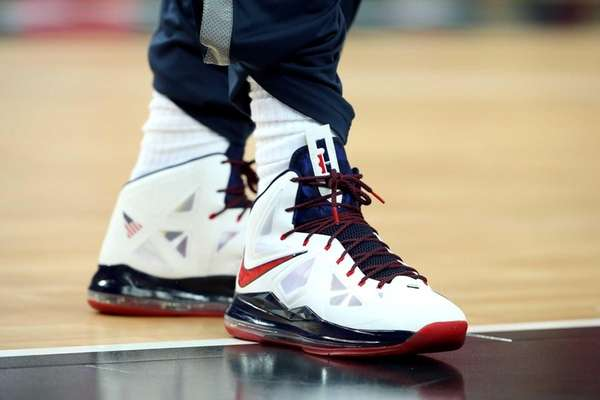 A detailed view of LeBron James' shoes before