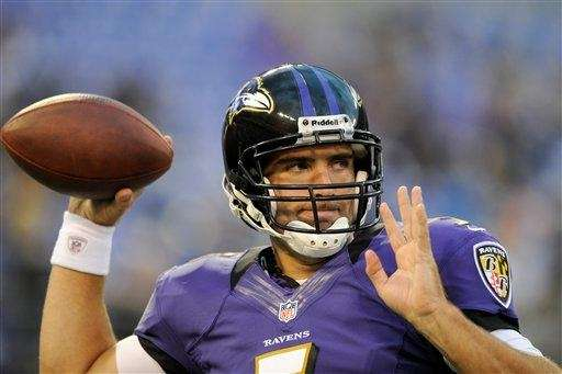 Ravens quarterback Joe Flacco warms up before a