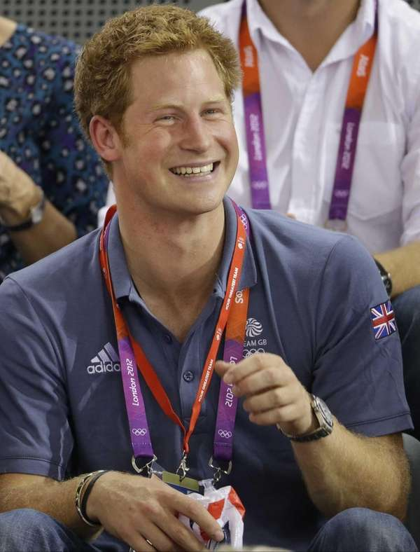 Prince Harry watches track cycling during the 2012