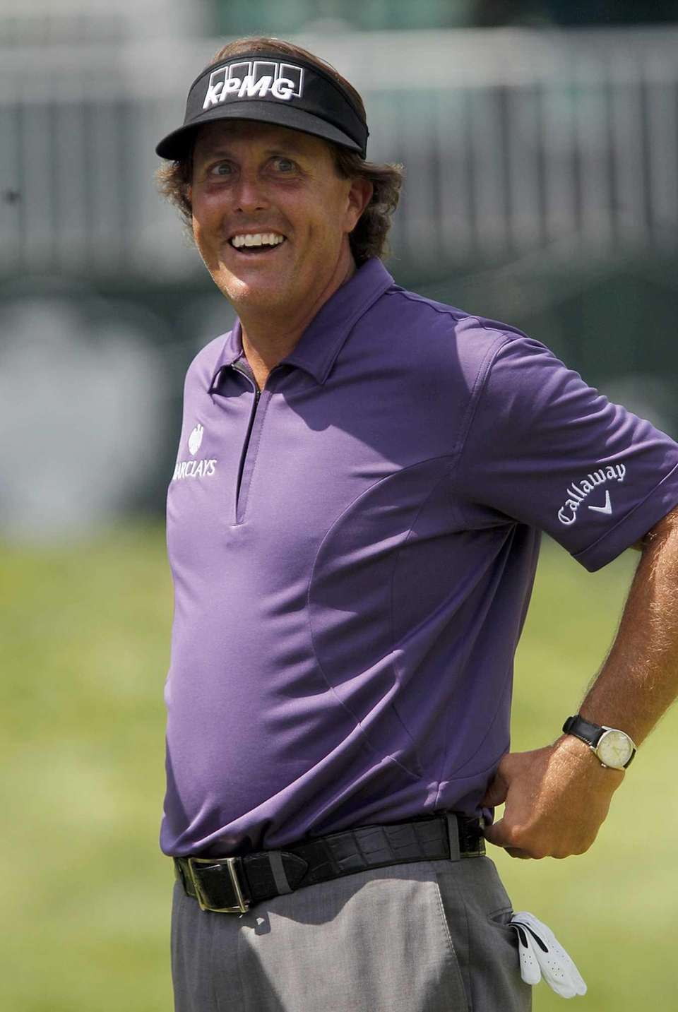 Phil Mickelson shares a lighter moment at the