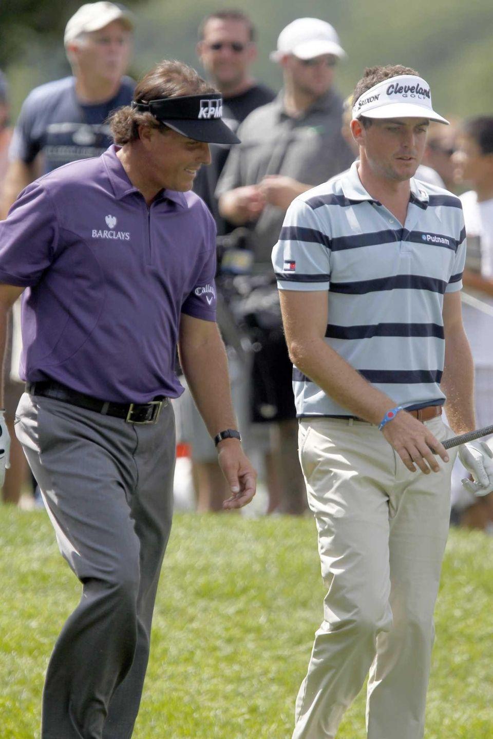 Phil Mickelson and Keegan Bradley walk and talk