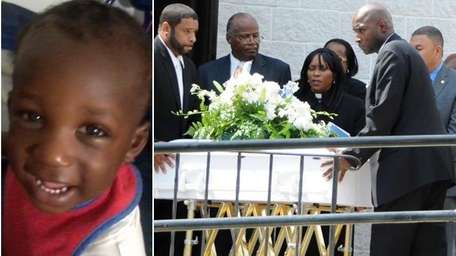 The coffin of Brentwood house explosion victim Rah-Quan