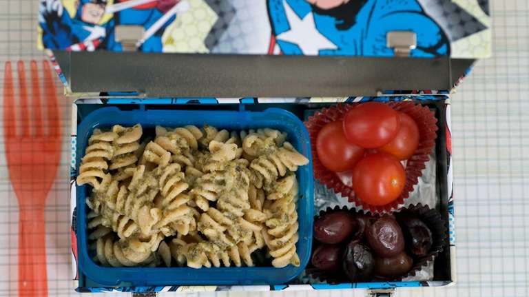 A healthy packed lunch of whole wheat pasta