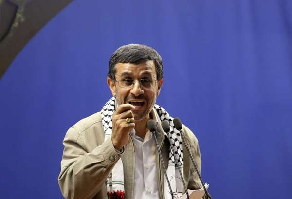 Iranian President Mahmoud Ahmadinejad speaks at the conclusion