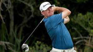 Robert Garrigus hits off the second tee during
