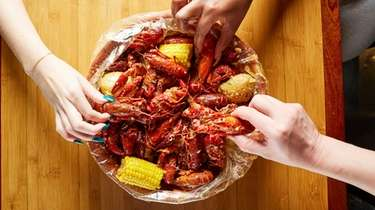 A bag of crawfish with old bay seasoning