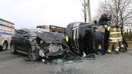 The crash involving two sport utility vehicles, one