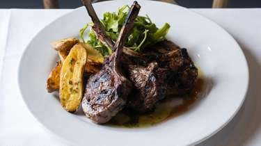 Grilled lamb chops with garlic roasted fingerling potatoes