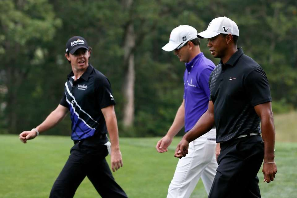 From right, Tiger Woods, Zach Johnson and Rory