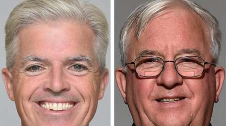 Suffolk County Executive Steve Bellone, left, spent $3.5