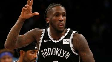 Taurean Prince of the Nets reacts after a
