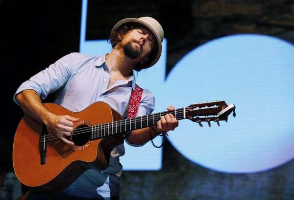 U.S. singer Jason Mraz performs during his concert