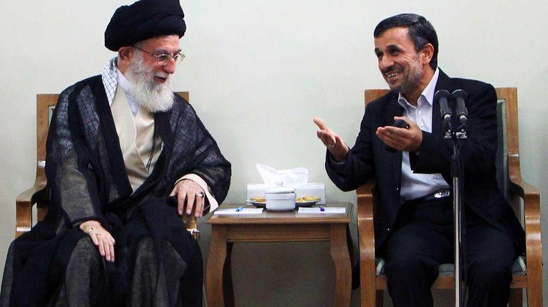 Iran's Supreme Leader Ayatollah Ali Khamenei, left, speaking