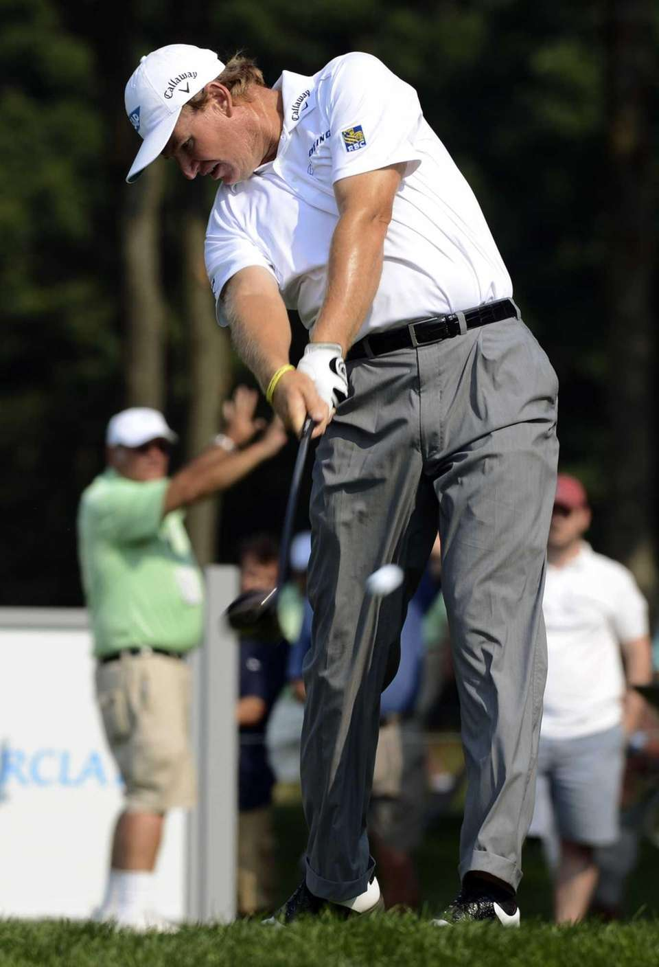 Ernie Els, of South Africa, hits his drive