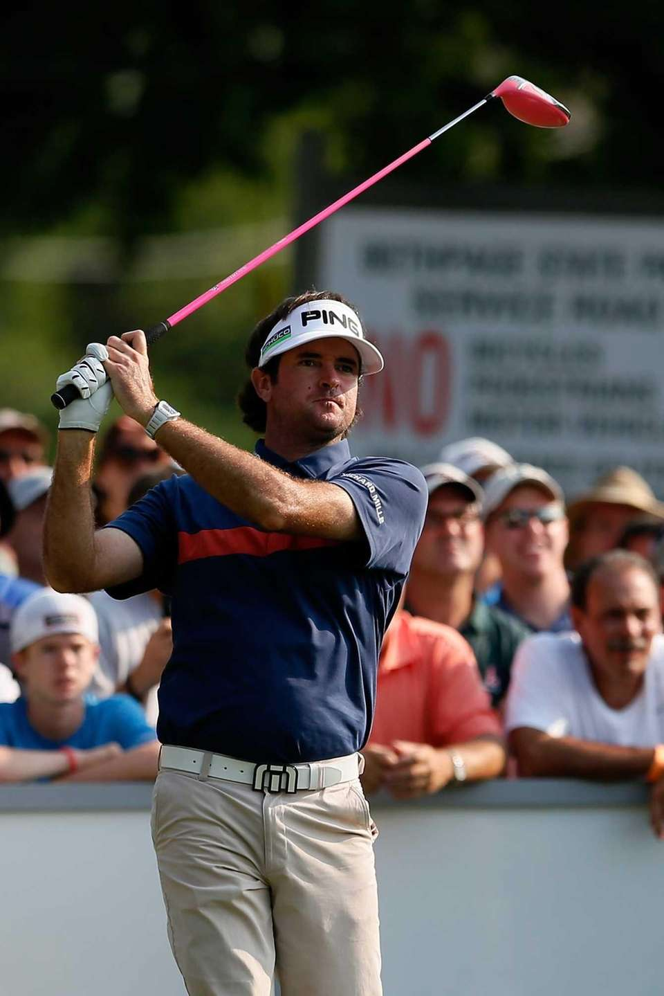 Bubba Watson watches his tee shot on the