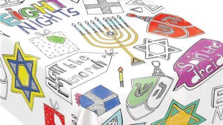 Coloring Hanukkah Paper Table Cover