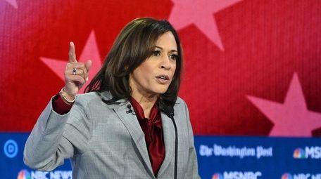 Democratic presidential candidate California Sen. Kamala Harris speaks