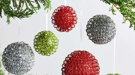 Large Glitter Ball Ornaments