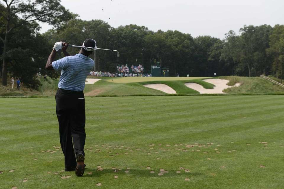 Vijay Singh, of Fiji, hits his tee shot
